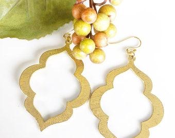 Brushed Gold Lantern Earrings