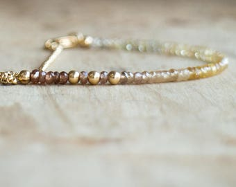 Zircon Bracelet, Gift for Wife, Mothers Day, Beaded Bracelet, Gemstone Bracelet, Genuine Gemstone Jewelry, December Birthstone, Ombre