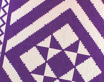 Imperial Purple Log Cabin Star with Great Lightning Borders FINISHED QUILT