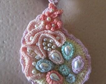 Crochet necklace,fiber necklace,crochet pendant,drop pendant,crochet pendant, ,gift for her,spring,summer,arabesque,pastel