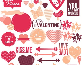 Trendy Valentines Day Clip Art Digital Scrapbooking Invitations Paper Goods Card Making