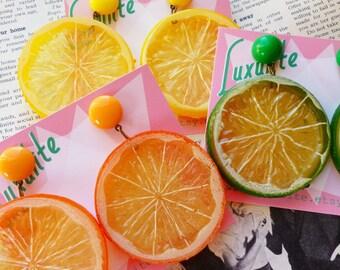 Zingy Citrus! Jumbo Lemon, orange or lime slice earrings 1940's 1950s novelty style by Luxulite