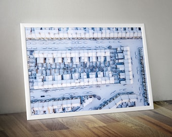 Snow from above! Terraces of London Houses, Cars, Gardens and Snowy Streets - Drone Aerial View Camberwell Cityscape