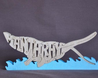 Manta Ray  Sting Ray Wood Puzzle Hand Cut with Scroll Saw Toy