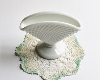 Vintage Westmoreland English hobnail milk glass fan-shaped vase, cottage décor, wedding décor, party dish