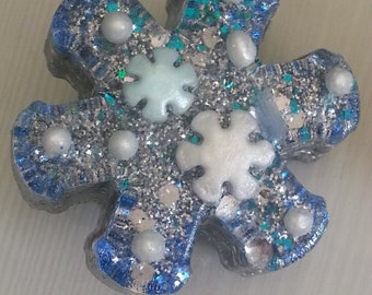 Orgone Energy Snowflake Mini 1 pc -Quartz Crystal, Pyrite, Blue Kyanite