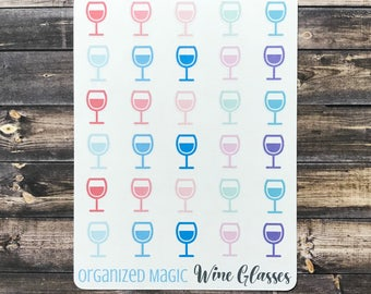 Wine Glass planner stickers, wine stickers, girls night out stickers