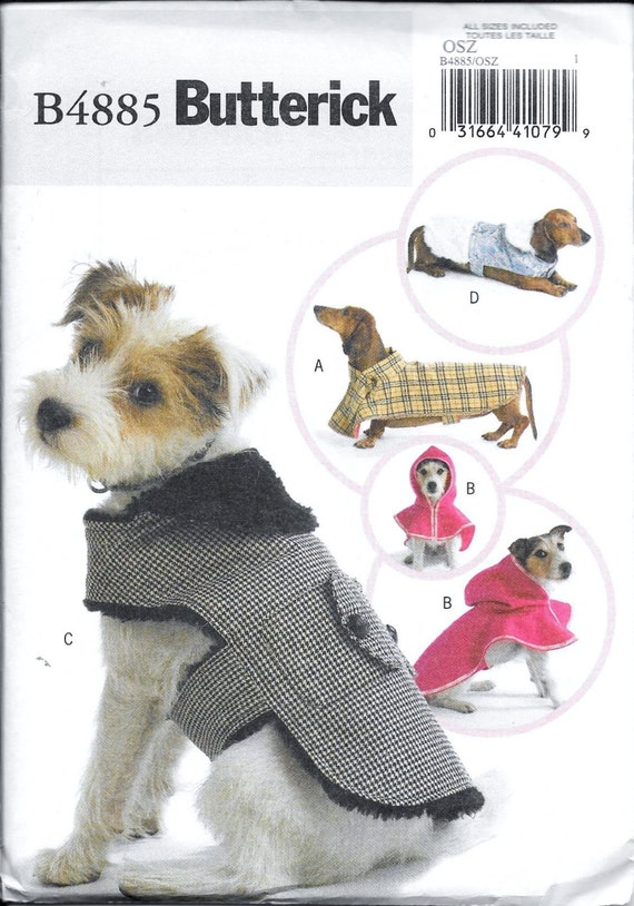 Butterick Sewing Pattern B4885 Dog Coats Hoodie Hood Clothes