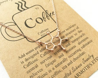 Rose Gold Coffee Caffeine Addict Molecule-Science Gift-Molecule Jewelry- Coffee Charm-Energy Necklace-Graduation Day Gift