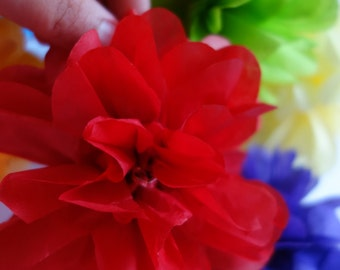 24 - Extra Small GARDENIA FLUFFED PuffScape CONNECTING Tissue Paper Flower Pom Puffs Garnet Red Rose Tropical Wedding Party Banister Decor