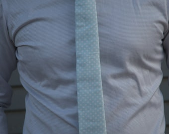 Light Blue with White Polka Dot Skinny Necktie
