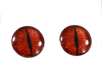 16mm Dragon Glass Eye Cabochons in Red and Black - Evil Eyes for Doll or Jewelry Making - Set of 2