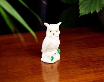 Mid Century Owl Figurine - Vintage Ceramic Owl - White Owl Decor - Owl Lover Gift - Modern Bird Decor