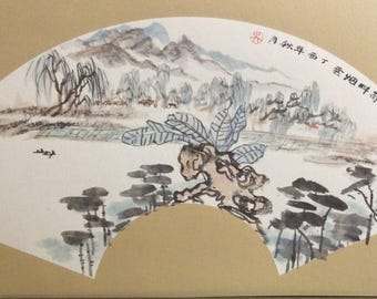 By the river with lily pads - Original Chinese Ink Wash Painting, Landscape Painting,Home Decor, Wall Arts