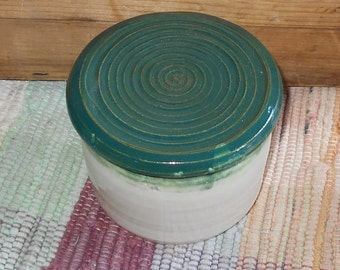 Handmade white and green French butter bowl - pottery French butter dish - ceramic butter dish - butter crock - butter dish - 031208