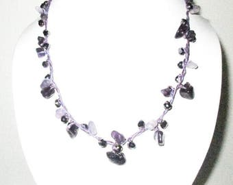 Amethyst Stone Necklace by Purple Wax Cord