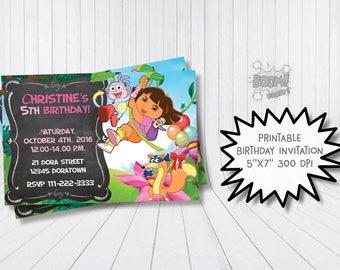 Dora the explorer birthday invitation, Dore the explorer invitation, Dora explorer party invite, Monkey, Personalized, Printable invitation