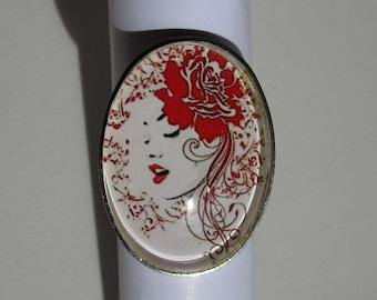 woman's face, red rose ring