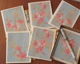 Blue and Pink Notecards from Vintage Wallpaper, All Occasion Cards, Blank Note Cards, Housewarming Gift, Box of 6, NB76