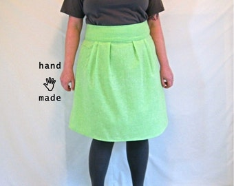 Flatterer Skirt - plus size skirt, size 20, size 22, minty lime green vintage cotton fabric, fully lined, phone pocket -- 40W-54H