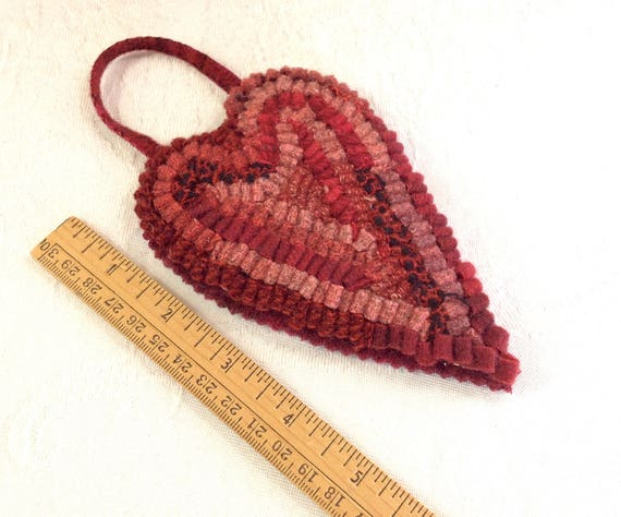 Long Red Heart Hooked Ornament, J611, Primitive Rug Hooking, Folk Art Ornament