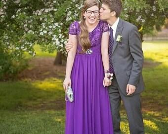 Modest Purple Prom Dress
