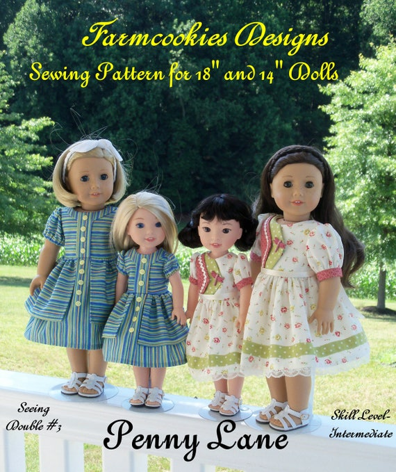 """2 Sizes! PRINTED Sewing Pattern: Penny Lane/ Sewing Pattern Fits BOTH 18"""" American Girl®  and 14"""" Wellie Wishers®"""