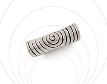 Bead, tube, silver, nickel free, 30 x 10 mm, hole 5 mm
