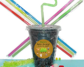 Baby Shower Party Cups, Baby Animals Party Cups, Baby Animal Shower Cups, 20 Cups, Baby Shower Animal Cups, Straws and Lids, 12 Ounce Cups