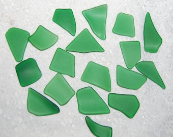 Green Faux Sea Glass undrilled lot - 18 pieces