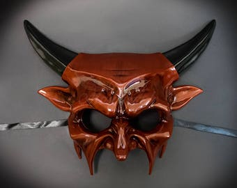 Scary Masquerade Mask Devil Horns Halloween Haunted House Props Animal Masquerade Mask Red