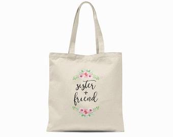 Sister and Friend Tote Bag, Bridesmaid Tote Bag, Sister Gift, Sibling Gift, Sorority Tote Bag, Bridal Party Tote Bag Sister in Law Tote Bag