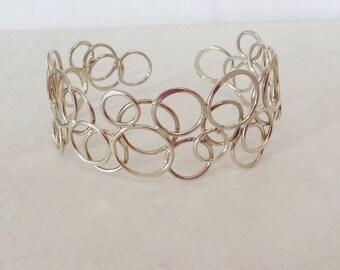 Silver Cuff Bracelet UK Hallmarked Wide Contemporary Artisan Geometric Cuff Bracelet Statement Sterling Silver