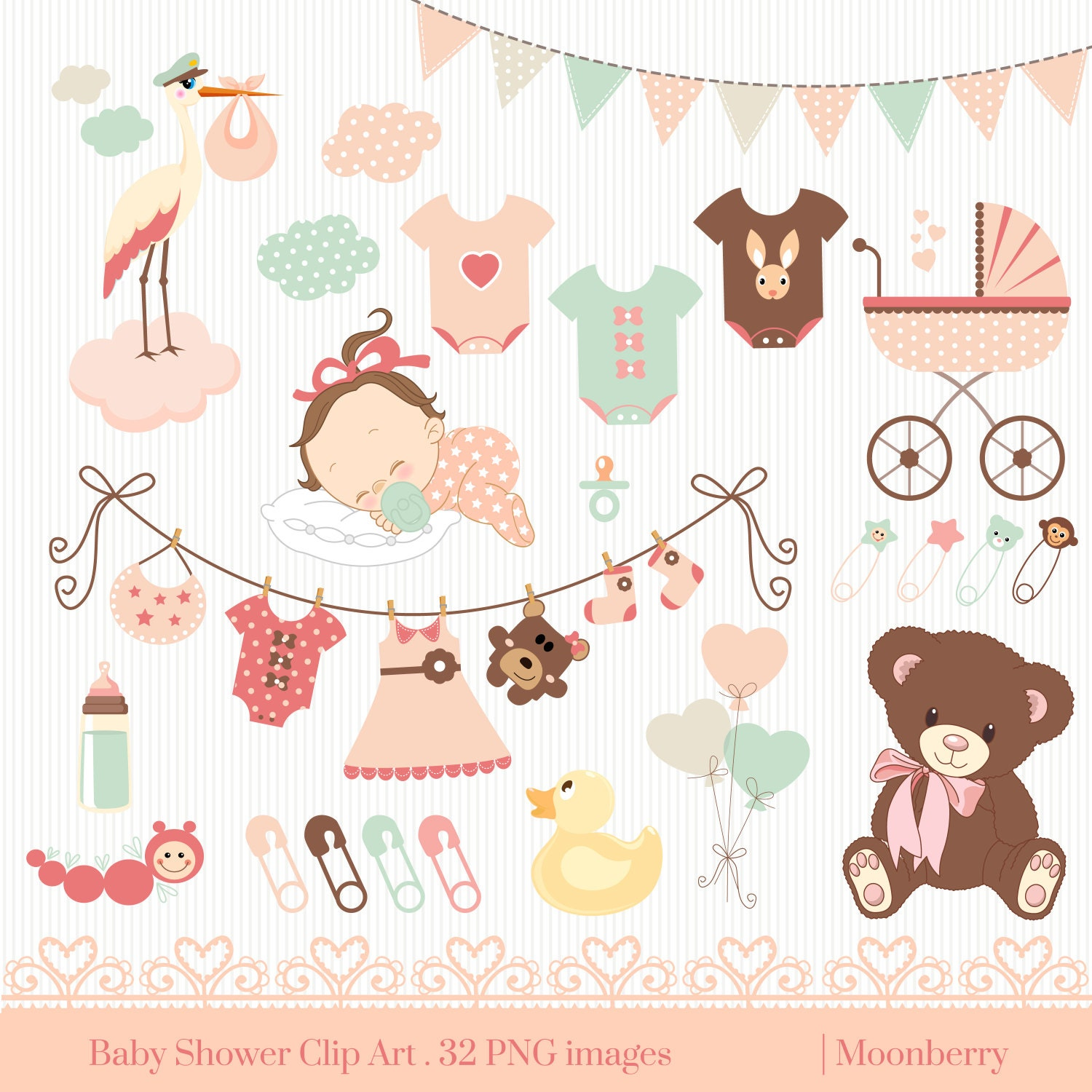 baby shower clip art baby shower clip art baby rh etsy com baby shower images girl clipart Pink Baby Girl Clip Art