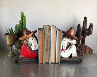 vintage wood bookends Mexican Siesta Sombrero man and woman