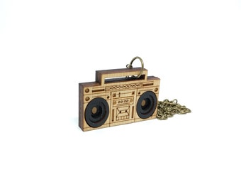 3D Boombox Necklace - Handmade - Laser Cut
