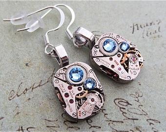 Steampunk ear gear - Aquamarine - Steampunk Earrings - Repurposed art
