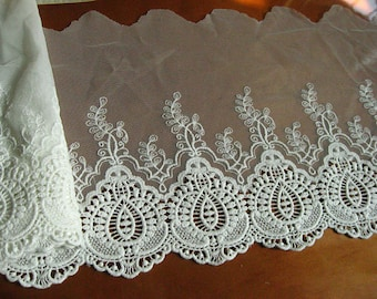 lace trim, off white embroidered lace fabric, tulle lace trim, gauze lace, vintage scalloped lace, ivory cotton lace, one yard