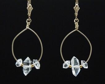 Herkimer Diamond hoop earrings / Herkimer Diamond earrings / Herkimer Diamond dangles / April Birthstone / Quartz Crystal Healing earrings