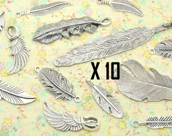 10 Feather assortment mix silver metal bird wing charms
