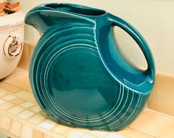Dark Turquoise Fiesta Pitcher, Art Deco Large Disc Fiestaware Pitcher