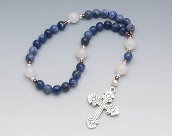 Anglican Rosary - Sodalite with Quartz - Blue & White Gemstones - Christian Prayer Beads - Small Rosary - Item # 743