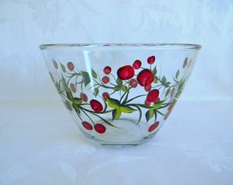 Bowl with cherries, serving bowl, bowl with red cherries, bowl painted with fruit, painted serving bowl, glass bowl, kitchen decor