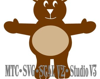 SVG Cut File Treat Holder Bear Easter Holiday Birthday MTC SCAL Cameo Silhouette Cricut Cutting File Die Cut