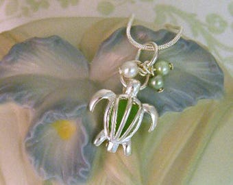 SEA TURTLE Locket with Sea Glass and Pearls, Handmade Jewelry, Sea Turtle Jewelry, Sterling Silver Necklace