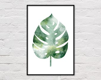Monstera Leaf Print, Monstera Print, Tropical Poster, Botanical Printable, Green Leaf Print, Wall Art, Botanical Art, Digital Download