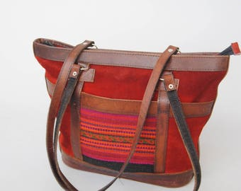 Vintage Suede Southwestern Purse Large Tapestry Leather Boho Shoulder Bag Southwestern Kilim Handbag