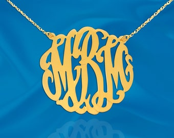 Monogram Necklace - 1.5 inch Sterling silver 24K Gold Plated - Personalized Custom Necklace - Monogram Initial Necklace - Made in USA