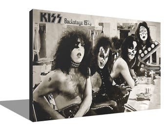 KISS Backstage 1975 100% Cotton Canvas Print Using UV Archival Inks Stretched & Mounted