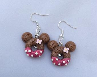 Dark Pink donuts Minnie earrings